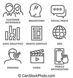 El icono de estrategia de marketing