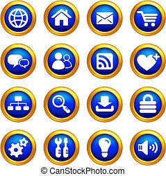 El icono de Internet se puso en botones con fronteras doradas