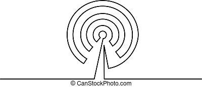 El icono de la antena Wi Fi sobre fondo blanco