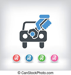 El icono de la asistencia de autos