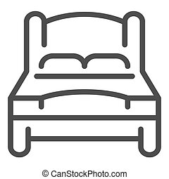 El icono de la cama. Ilustración vectorial doble aislada en blanco. Diseño de diseño de doble sala, diseñado para web y aplicación. Eps 10.