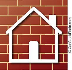El icono de la casa con logotipo de ladrillo
