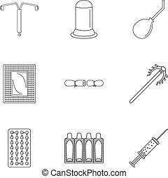 El icono de la contracepción, estilo de esquema