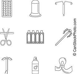 El icono de la contracepción moderno, el estilo esbozo
