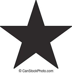 El icono de la estrella negra en un fondo blanco. Ilustración de vectores