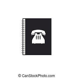 El icono de la guía está aislado. Libro de direcciones. Directorio telefónico. Diseño plano. Ilustración de vectores
