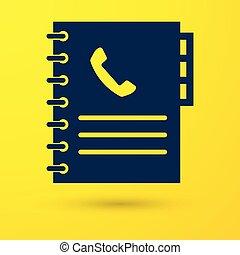 El icono de la guía telefónica azul aislado en el fondo amarillo. Libro de direcciones. Directorio telefónico. Ilustración de vectores