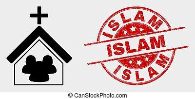 El icono de la iglesia Vector y el sello de sello del sello del Islam grunge