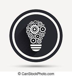 El icono de la lámpara. Bulb con el símbolo de engranajes.
