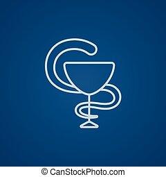 El icono de la línea de símbolos médicos farmacéuticos.