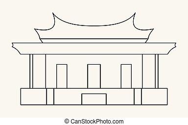 El icono de la línea delgada del Templo de Confucio