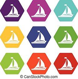 El icono de la nave marca color hexahedron