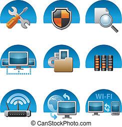 El icono de la red de computadoras está listo