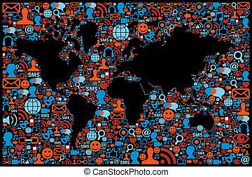 El icono de la red de medios sociales creó el mapa de Globe