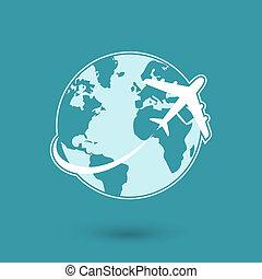 El icono de la red de viajes global