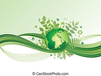 El icono de la tierra y el medio ambiente, el ba verde