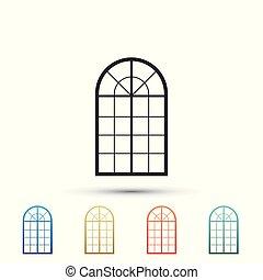 El icono de la ventana arqueado aislado en el fondo blanco. Pon elementos en iconos de colores. Diseño plano. Ilustración de vectores