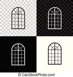 El icono de la ventana arqueado aislado en el fondo negro, blanco y transparente. Ilustración de vectores