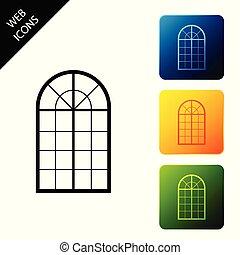 El icono de la ventana arqueado aislado. Pon los iconos coloridos botones cuadrados. Ilustración de vectores