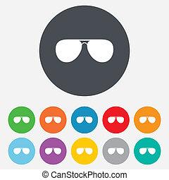 El icono de las gafas de sol aviador. Gafas de piloto.