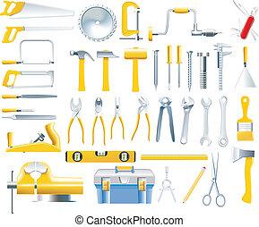 El icono de las herramientas del tractor
