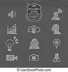 El icono de las redes sociales puesto a mano en el estilo dibujado