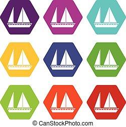 El icono de los barcos de vela marca el color hexahedron