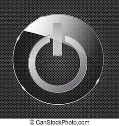 El icono de los botones de vidrio en el fondo del metal. Ilustración del vector