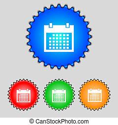 El icono de los calendarios. El símbolo del mes de los días. Botón de cita. Pon los botones de Colur. Vector
