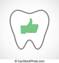 El icono de los dientes con un pulgar en la mano