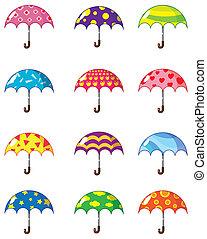 El icono de los paraguas de cartón