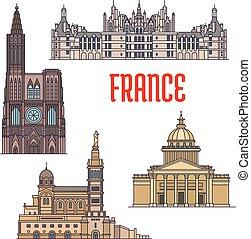 El icono de los viajes franceses en línea delgada