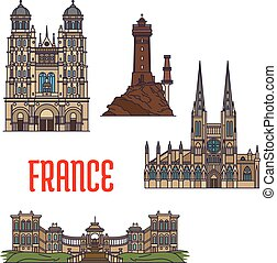 El icono de los viajes franceses, estilo de línea delgada