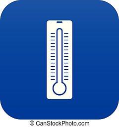 El icono de termómetro azul digital