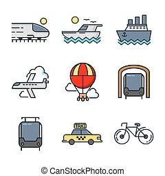 El icono de transporte marca el color