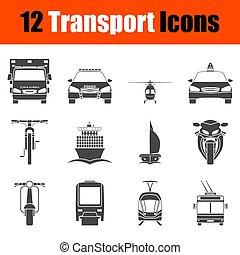 El icono de transporte puesto a la vista