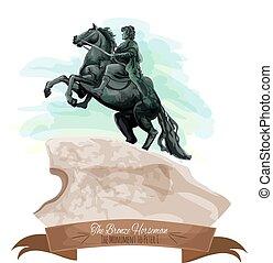 El icono de viaje ruso con el jinete de bronce