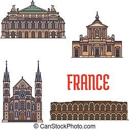 El icono de viajes franceses para el diseño de turismo