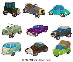 El icono del auto retro cartón