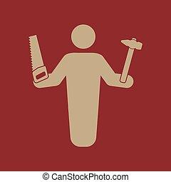 El icono del avatar carpintero. Constructor y manitas, símbolo de artesano. Plano