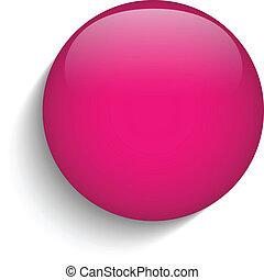 El icono del círculo de vidrio rosa