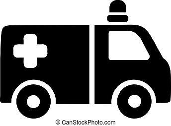 El icono del coche de ambulancia