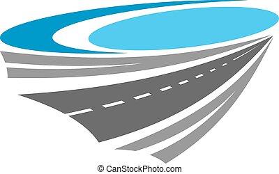 El icono del color de la carretera