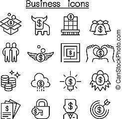 El icono del concepto de negocios se puso en una línea delgada