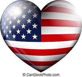 El icono del corazón de la bandera americana