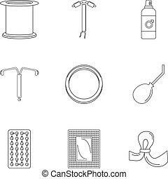 El icono del día de la contracepción, estilo de esquema