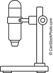 El icono del microscopio del hospital, estilo de esbozo