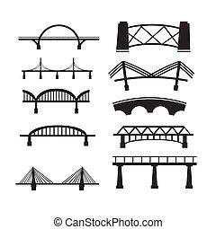 El icono del puente se puso sobre fondo blanco. Vector