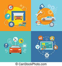 El icono del servicio de automóviles