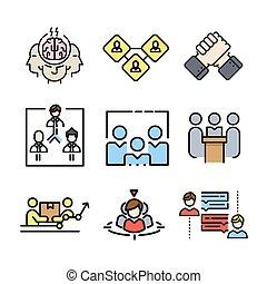 El icono del trabajo en equipo marca color